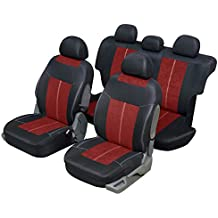 Funda asiento auto universal para 4x 4y SUV rojo y negro, microfibra diseño y confort