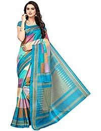 Floral Trendz Women's Bhagalpuri Silk Printed Saree With Blouse Piece.(Bhagalpuri 714_Sky_Free Size)