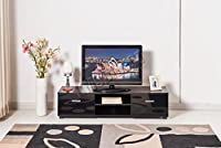 FoxHunter Modern High Gloss MDF TV Cabinet Unit Stand Black Home Furniture TVC01 120cm