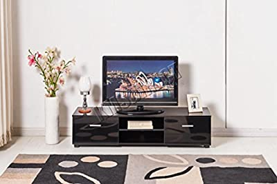 FoxHunter Modern High Gloss MDF TV Cabinet Unit Stand Black Home Furniture TVC01 120cm