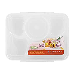 Generic 1 set 2016 Hot Sale Portable Microwave Bento Lunch Box for Kids 5+1 Food Container Storage plastic carrying Food Box Lunchbox- White