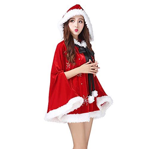Katesid Damen Mädchen Weihnachten Kostüm Rotkäppchen Süße Schneeflocken Umhang mit Flauschigen Bommeln, ()
