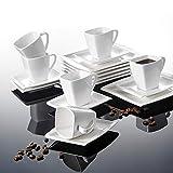 Malacasa, Serie Blance, 18 tlg. Set Cremeweiß Porzellan Kaffeeservice Geschirrset, mit 6 Stück Kuchenteller, 6 Stück 180ml Tasse und 6 Stück Untertasse für 6 Personen