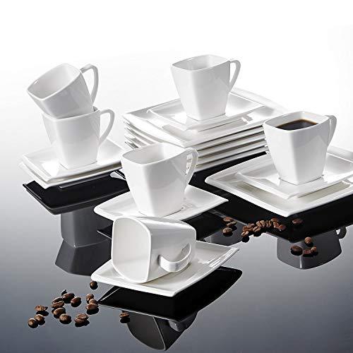 MALACASA, Series Blance, 18 Piezas Vajillas de Porcelana Juego de Café 180ml Juego de Vajillas con 6 Platos cada uno, 6 Tazas, 6 Platillos para 6 Personas
