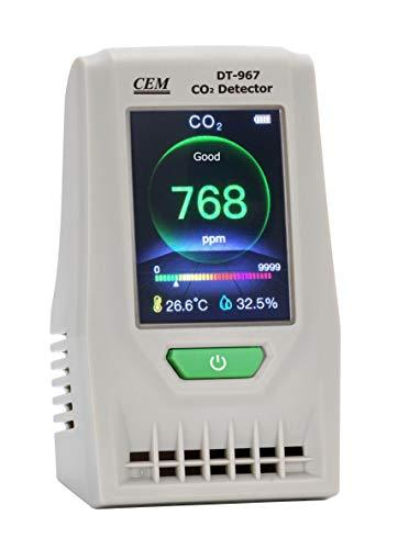 CEM Luftqualität CO2-Monitor DT-967,Luftqualität Messgerät-Hydrometer Feuchtigkeit Temperatur und Luftfeuchtigkeitsmesser Digitales Detektor CO2 thermo Hygrometer Raumluftüberwachung für Indoor -