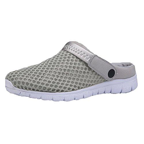 Kootk Slippers Femmes Hommes Slip-On Chaussures Respirant Pantoufles Chaussons Sabots Plage Sandales Hohe Chaussures Mode Poids Léger Intérieur de Plein Air Eau Décontractée Chaussures Gris