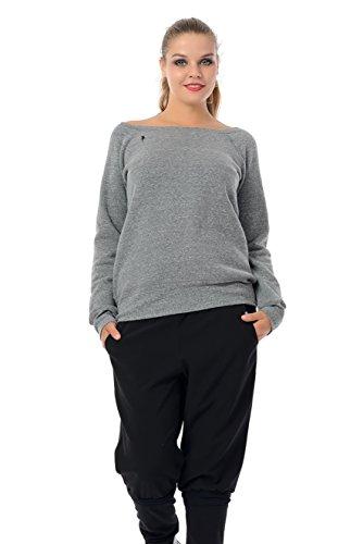 Schulterfreies Oberteil/Pullover schulterfrei u-Boot-Ausschnitt/Sweater Frauen kleine Elfe Fee, grau schwarz S, Sweatshirt -
