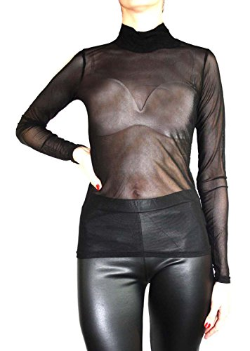 Muse T-shirt Tunique/forme Transparent Top Tulle langarme Noir