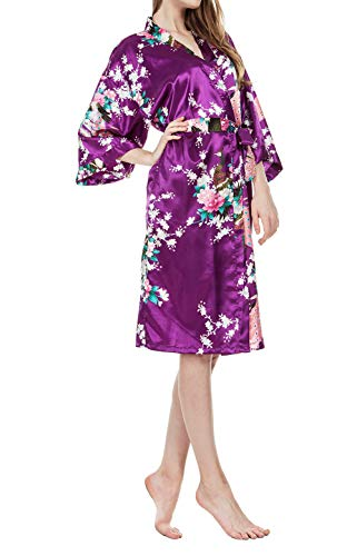 Damen Morgenmantel Kimono, Glatte Satin Nachtwäsche Bademantel Robe mit Peacock und Blume Kimono Negligee Seidenrobe locker Schlafanzug, Langer Stil (Violett Short, M) Kimono-shorts