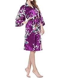 Vestido Kimono Pijama de Seda Novia Kimono de Seda Bata de Vestir túnica lencería Ropa de Dormir de Satén Estampado…