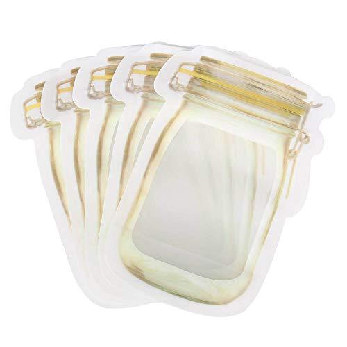 WRAPOK Kleine Ball Mason Zipper Beutel Vorratsgläser Wiederverwendbar Snack Bag Food Saver, 5,9 x 3,9 Zoll - 150 ml (5er Pack) - Kleine Mädchen Tee-set Schrank