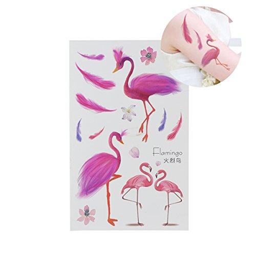 BESTOYARD Hawaiian Party Tattoos tropische temporäre Tattoos Flamingo Party Supplies für Kinder und Erwachsene, 6 Blatt (Party Tropische Supplies)