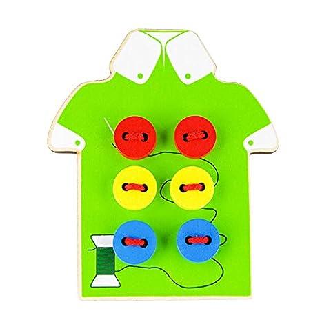 Gazechimp Jouets Enfants Bouton Threading en Bois Perles Laçage Carte Toy Vert