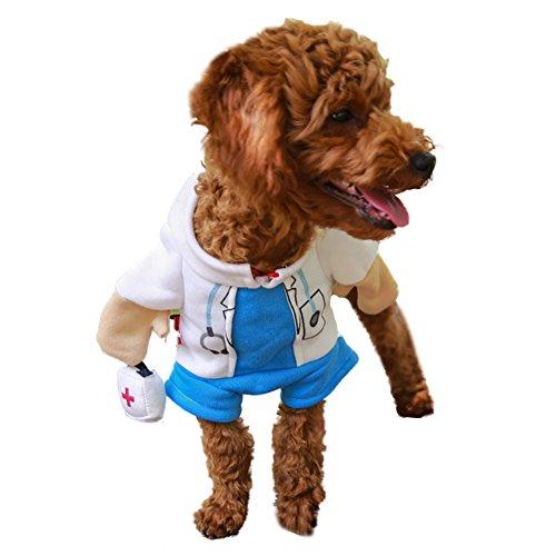 Arzt Kostüm Pet - DELIFUR Hund Katze Doktor Kost¨¹m Haustier Arzt Kleidung Halloween Jeans Outfit Bekleidung