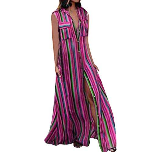 BHYDRY Frauen beiläufiges striple beiläufiges Knopf-Kleid Sleeveless Loses Partei-langes Kleid (Sich Wie 80er-jahre-mädchen Die Kleiden Sie)