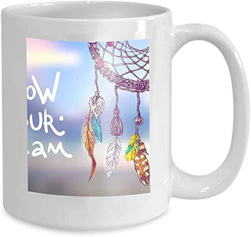 Rael Esthe La Taza de café de cerámica Blanca de 11 oz Sigue Las Letras de la motivación de Tus sueños, Hermoso Estilo Boho Dibujado a Mano, atrapasueños, USA Postales Impresas