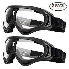 Idea Regalo - Occhiali di sicurezza da 2 paia per bambini con protezione anti-nebbia e UV, perfetti per pistole anti-schiuma
