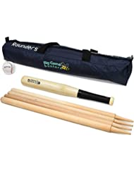 Quality Traditional Rounders Set with Ash Bat, Ball and Posts in a Canvas bag Garden Game by Big Game Hunters