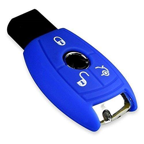 E-Senior Schlüsselhülle 3 Tasten Autoschlüssel Silikon Schutzhülle Tasche Gehäuse Fernbedingung / Silikonwagen Schlüsselkoffer Abdeckung MERCEDES BENZ Klasse C CL CLK E G G M S SL SLK (Blau)