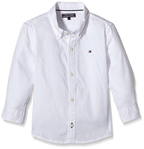 Tommy Hilfiger Jungen SOLID Oxford Shirt L/S. Hemd, Weiß (Classic White 100), 128 (Herstellergröße: 8) -