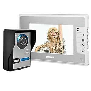 Sonnette Cadrim,Interphone Vidéo Sonnette,7 pouces TFT LCD Surveillance Moniteur Caméra Porte Interphone Vidéo ,Caméras de Surveillance ,Interphone Vision Nocturne et Imperméable 90°
