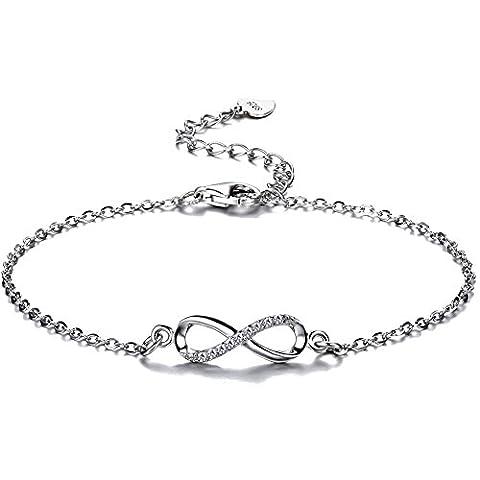 F.ZENI Women Bracelet 925 Sterling Silver Sparkling Cubic Zirconia Kisses Bracelet Accent Infinity Forever Bracelet for