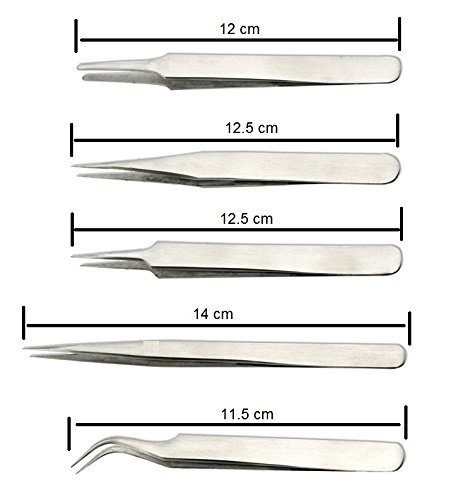 PagKis Set of 5 Non-Magnetic Tweezers - Stainless Steel for mobile, gadget repairing, personal care