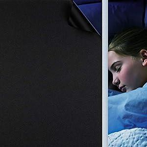 Fensterfolie Selbsthaftend Schwarz, Verdunkelungsfolie Blickdicht Sichtschutzfolie Anti-UV & Sichtschutz Fenster Klebefolie Statische Folie Dunkel für Schlafzimmer Badezimmer - Schwarz [60x200 cm]