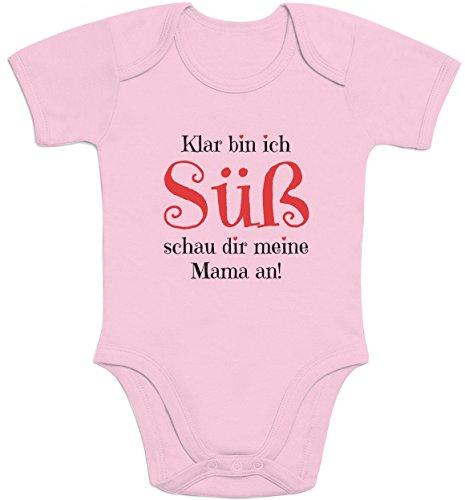 Shirtgeil Mädchen - Klar Bin ich Süß schau dir Meine Mama an Baby Body Kurzarm-Body 69/80 (6-12M) Rosa
