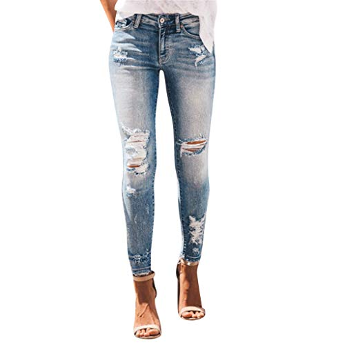 ❤HappyQn❤ Damen Jeans Röhre Skinny Jeans Damenjeans Stretch Denim Destroyed Cut-Outs Risse