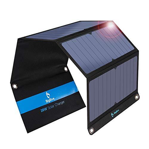 28W Caricabatterie Solare Portatile BigBlue 2-Porte USB e 4 Pannelli Solari Waterproof con Amperometro Digitale e Cerniera di Protezione - per Dispositivi Ricaricabili via USB - iPhone Android GoPro Ecc (21.5-23.5% Conversione Energia Solare)