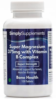 SimplySupplements Super Magnesium 375mg with Vitamin B Complex Bone Health 120 Tablets from Simply Supplements
