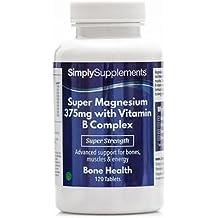 Super Magnesio 375 mg con Complejo de Vitamina B - 120 comprimidos - Hasta 4 meses