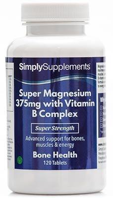 Super Magnesium 375mg mit Vitamin B Complex - 120 Tabletten - Versorgung für bis zu 4 Monaten - trägt zur Instandhaltung aller körperlichen Funktionen bei - Simply Supplements