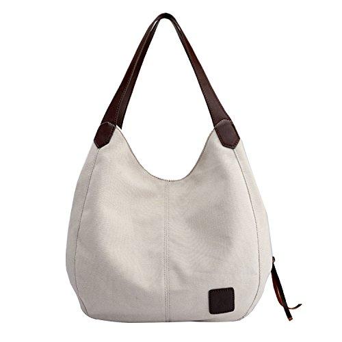 PB-SOAR Damen Mädchen Modern Canvas Shopper Schultertasche Handtasche Henkeltasche Hobo Bag Beuteltasche (Weiß) (Mädchen Weiße Handtasche)