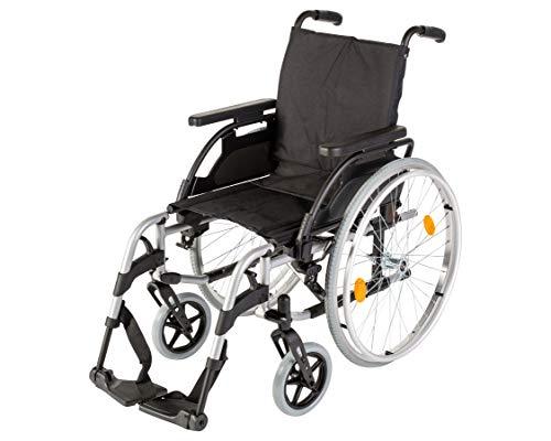 Sunrise Medical Aluminium-Rollstuhl Breezy BasiX² leicht & faltbar mit Trommelbremse, verstellbare Rückenhöhe & Sitztiefe I Faltrollstuhl bis 125 kg belastbar, Klapprollstuhl in 6 Sitzbreiten, 40,5 cm