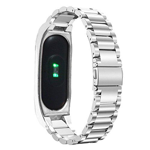 Pinhen - Correa de repuesto de acero inoxidable para reloj inteligente Xiaomi Mi Band 2, con marco de metal