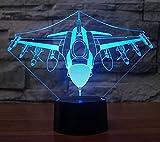 Luce notturna 3D Luce notturna 3D Luce notturna Lampada da comodino Luce stereoscopica per diapositive Aereo Multi-Power Decorazione domestica Regalo di festa Luce atmosfera