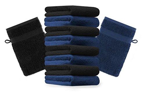 Betz lot de 10 gants de toilette taille 16x21 cm 100% coton Premium couleur bleu foncé, noir