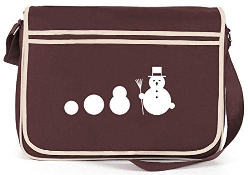 Evolution Schneemann, Winter Weihnachten Retro Messenger Bag Kuriertasche Umhängetasche Braun