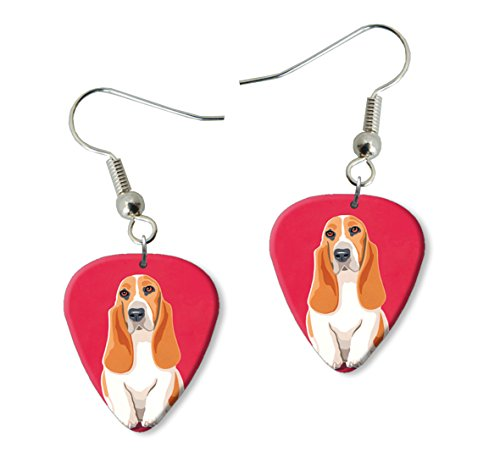 basset-hound-martin-wiscombe-guitare-mdiator-pick-boucles-doreilles-earrings-vintage-retro