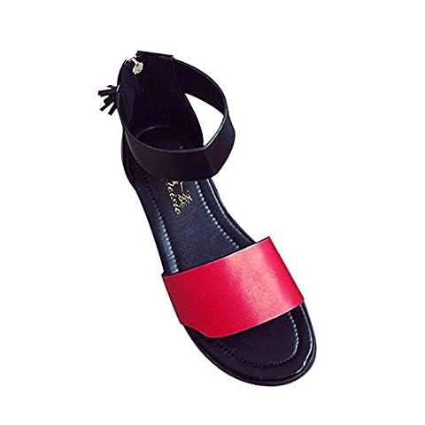 ♥ Loveso ♥ Damenschuhe 2017 Damen Frauen Sommer Flache Heiße Bequeme Sandalen Schuhe (38, Rot)