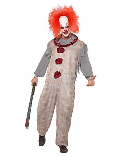 Smiffys 40325M Vintage Clown-Kostüm, Herren, Grau & Rot, M Größe 96,5-101,6 cm (Clown Kostüm Overall)
