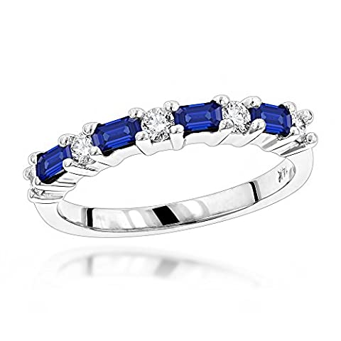Luxurman Unique 14K Natural Diamond and Real Sapphire Ring For Women (White Gold Size 8.5)