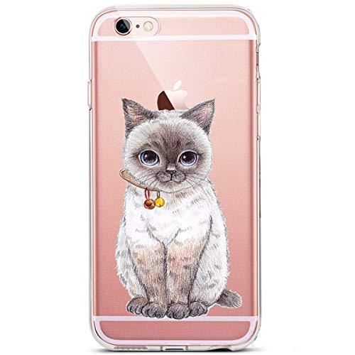Karomenic Silikon Hülle kompatibel mit iPhone 6 Plus/6S Plus Kreative Cartoon Transparent Handyhülle Durchsichtig Schutzhülle Crystal Clear Weiche Soft TPU Tasche Bumper Case Etui,Glocke Katze (Kreative Cases Für Iphone 6 Plus)