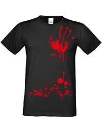 Halloween T-Shirts Herren Fun-Motiv Blutige Hand gruselige Geschenk-idee Party-Outfit Kostüm Hexen Gespenster Geister Farbe: schwarz