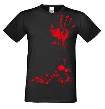 Halloween T-Shirts Herren Fun-Motiv Blutige Hand gruselige Geschenk-idee Party-Outfit Kostüm Hexen Gespenster Geister Farbe: schwarz Gr: 3XL
