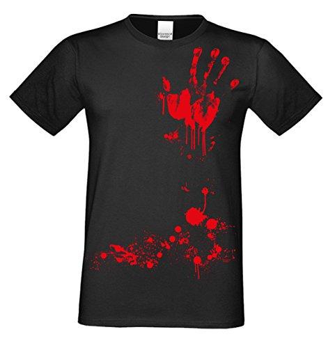 Halloween T-Shirts Herren Fun-Motiv Blutige Hand gruselige Geschenk-idee Party-Outfit Kostüm Hexen Gespenster Geister Farbe: schwarz Gr: XL