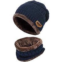 heekpek Niños Sombrero Caliente de Punto y Bufanda tubular con Forro de  Lana 7036026e1ce
