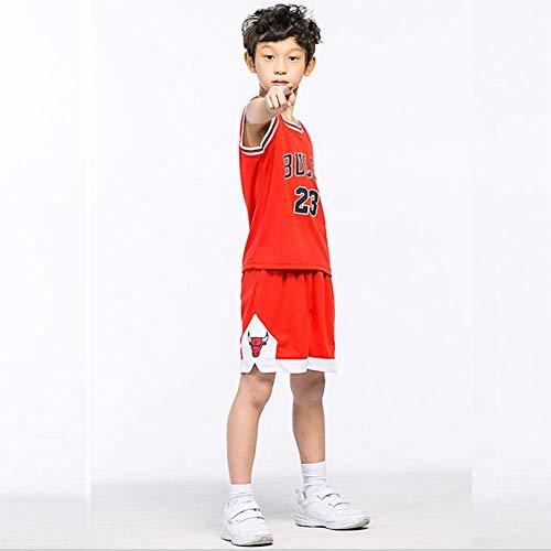 NBA 23# Bulls Child Jersey Set Männlichen Basketball Stickerei Kleidung Anzug Trainingsabnutzung Outdoor Sports Kleidung,red,L